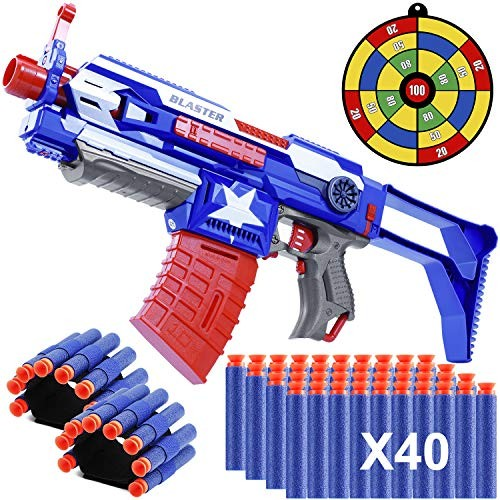 Blaster Guns Toy Guns Automatic Toy Sniper Rifle with 40 Darts 2 Reload Clips