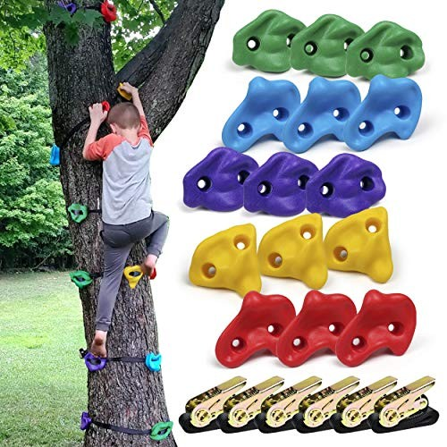 SSBRIGHT Tree Climbers Set of 15 Climbing Holds/Steps for Kids' Outdoor Active Play with