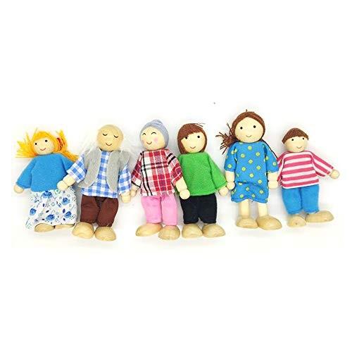 OKOK 6 Pcs Wooden Dollhouse Family Set Dollhouse Dolls Wooden Doll Family Pretend Play