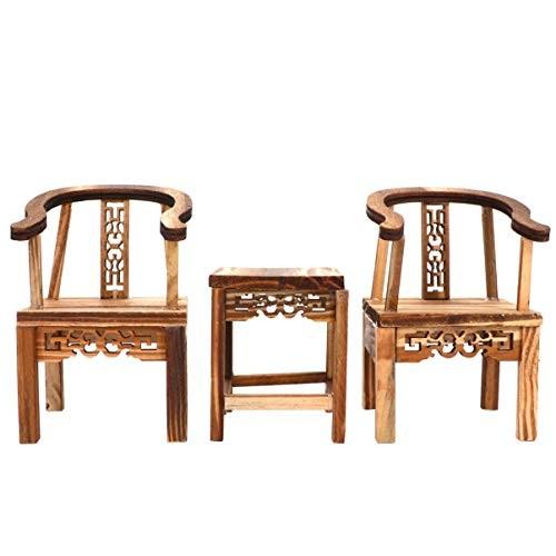 GARNECK 3Pcs Wooden Dollhouse Furniture Miniture Vintage Chinese Chair Tea Table Model Toy Dollhouse