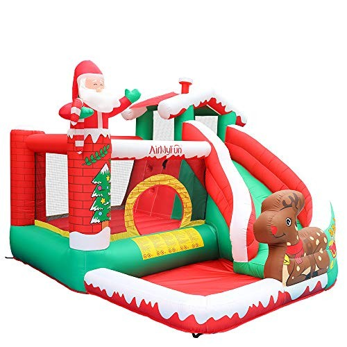 AirMyFun Inflatable Christmas Bounce House with Slide Inflatable Santa Clause Snow House Bouncy House