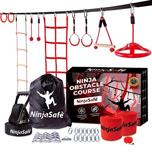 Ninja Warrior Obstacle Course for Kids – 50 Ultra-Durable Slackline Kit with