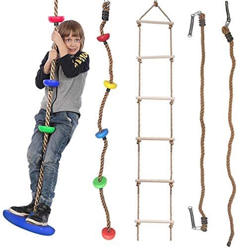 DSDecor 5Pcs Climbing Rope Swing Set for Kids Hanging Climbing Rope and Ladder Climbing