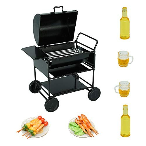 Dollhouse BBQ Grill Set (7 Pieces) – Metal Grill Roast Meat Beer – Dollhouse