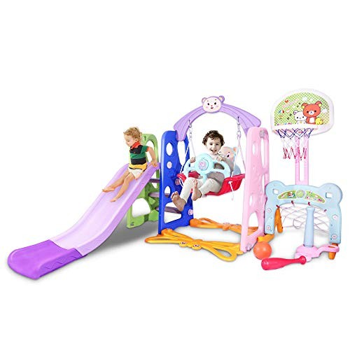 Bigzzia 6 in 1 Toddler Slide and Swing Set Kids Freestanding Climber Playground with