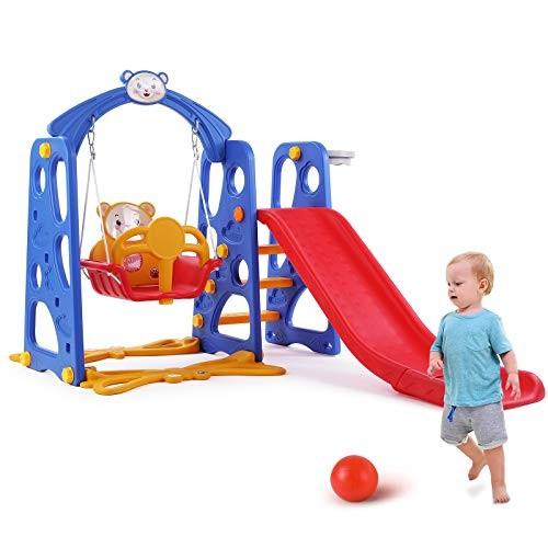 LAZY BUDDY 4 in 1 Kids Slide Swing Set Toddler Climber Playground Sturdy Baby