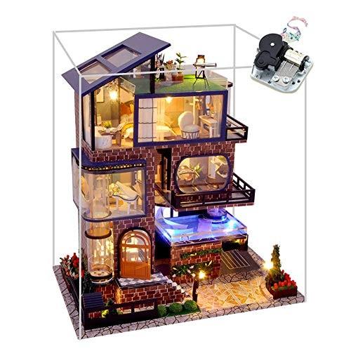 WYD Wooden Modern 3-Story Elevator Villa Model 3D Assembled Toy House DIY Dollhouse Kit