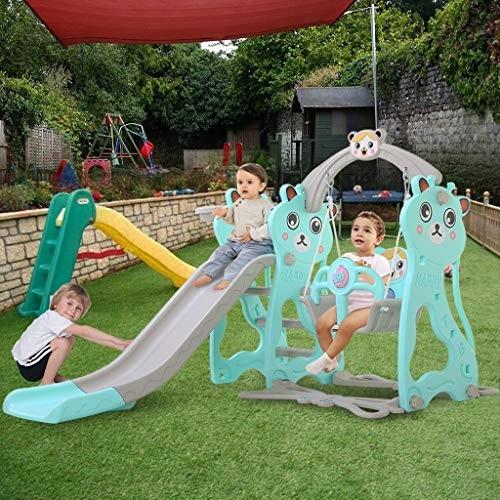 ZhiLoeng Freestanding Kid Slide Baby Play Climber Slide Set with Basketball Hoop Fun Toy