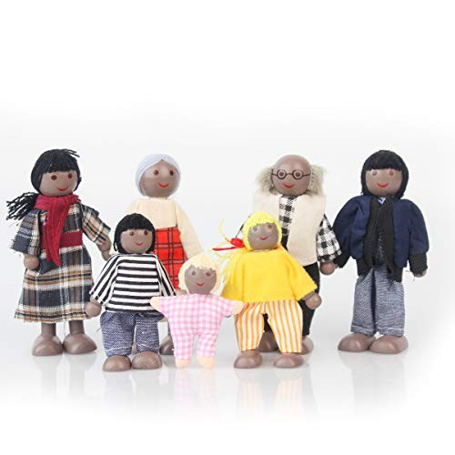 Wooden Black Dollhouse People 7 Family Figures Miniature Doll House Wooden Doll House Family
