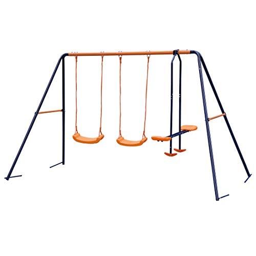 Nova Microdermabrasion Swing Set Metal Outdoor Backyard Playground Swing Set with 2 Seats and
