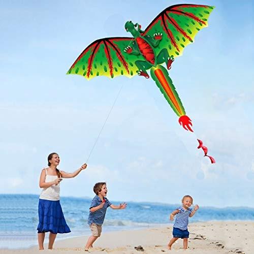 Kite 3D Dragon Pattern3D Dragon 100M Kite Single Line with Spiral Tail Kites Outdoor