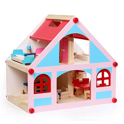 Wooden Dollhouse Blue Pink Doll Playhouse Cottage Set Wood Pretend Play 2-Story Playset with