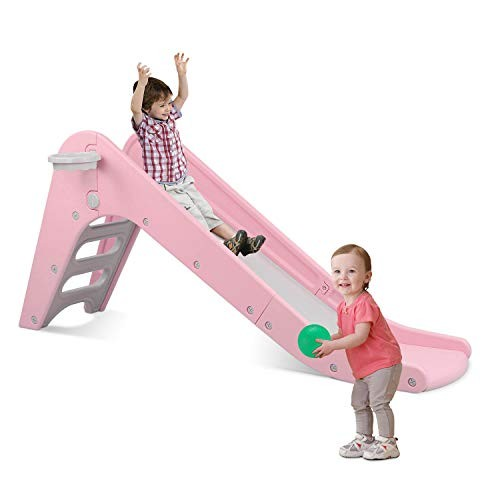 LAZY BUDDY Freestanding Kid Slide Baby Play Climber Slide Set with Extra Long Slipping