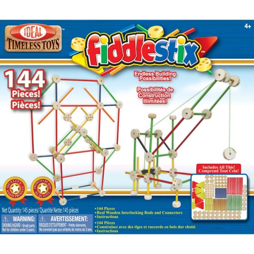 New Ideal 68 Piece Fiddlestix Classic Wood Connector Set Tinkertoys