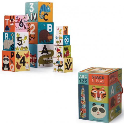 Jungle Jamboree ABC & 123 Stack n Play 10 Nesting Blocks Set