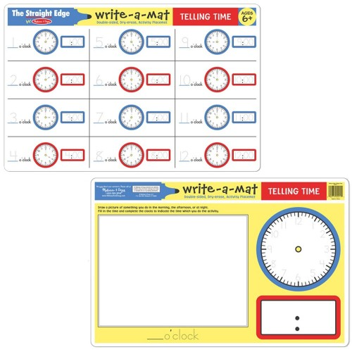 Telling Time Write On Learning Placemat Educational Toys