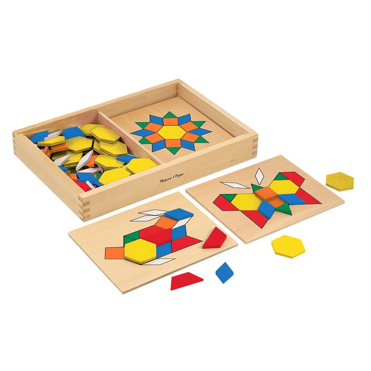 Wooden Learning Toys : Pattern blocks and boards learning wooden toy