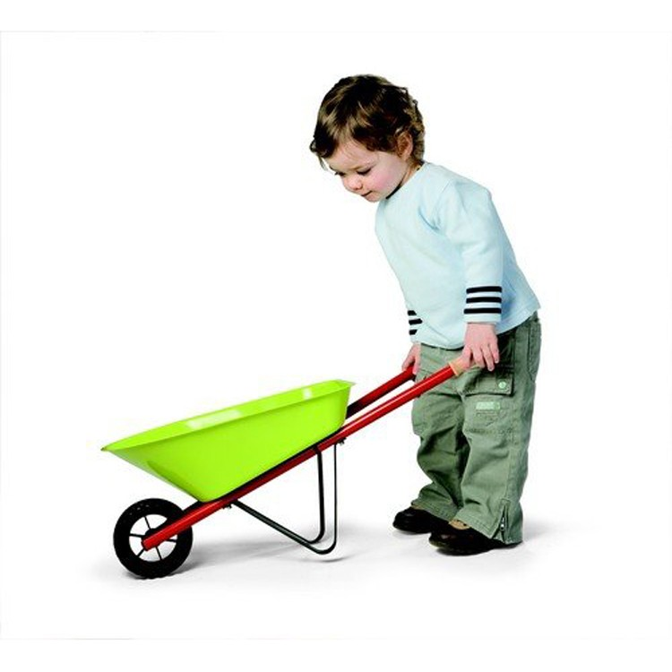 Kids metal wheelbarrow 3 pc garden tools set educational for Gardening tools toddlers