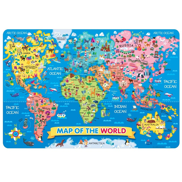 Map Of The World 24 Pc Jumbo Floor Puzzle Educational