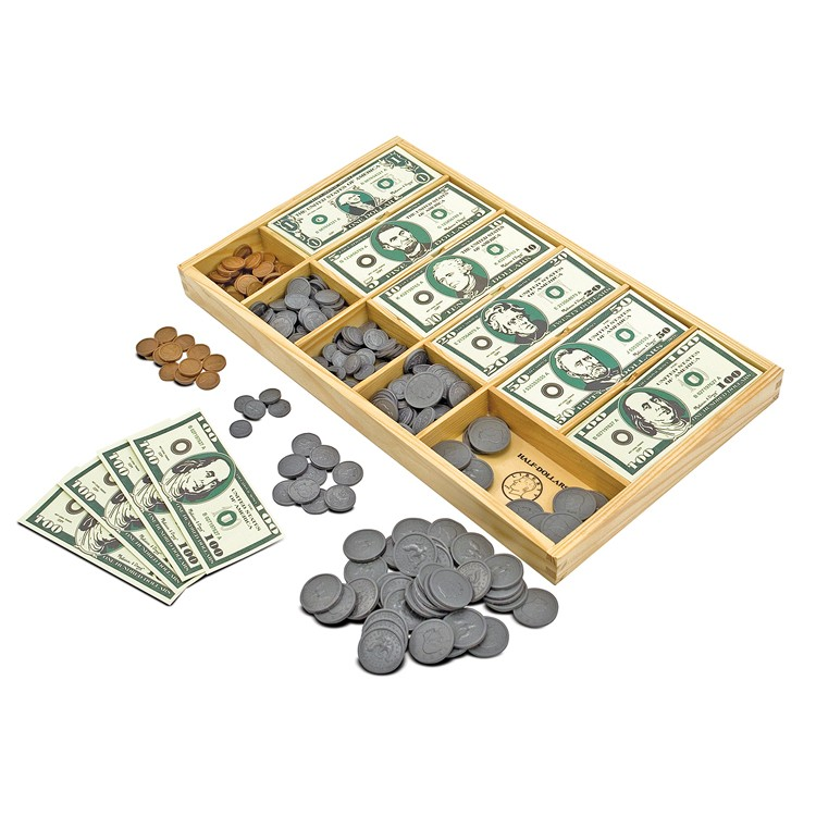 Description New Melissa & Doug Play Money Set - Educational Toy With Paper Bills and Plastic Coins (50 of each denomination) and Wooden Cash Drawer for Storage by Melissa & Doug Product Description Never be short of (pretend) cash again!