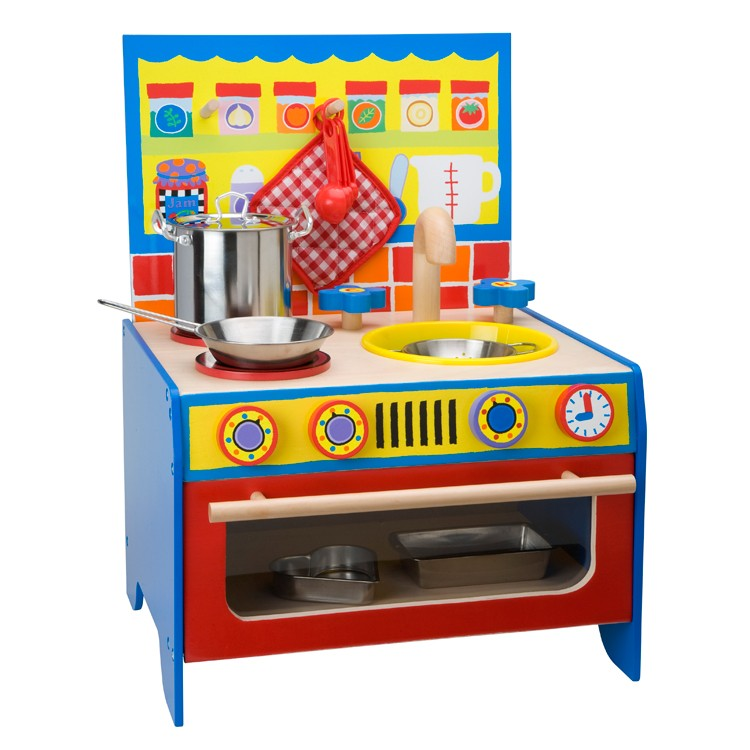 Kids wooden pretend play kitchen educational toys planet - Childrens wooden play kitchen ...