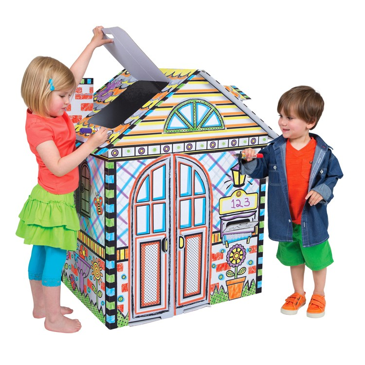 Color a House Giant Cardboard Craft & Play House ...