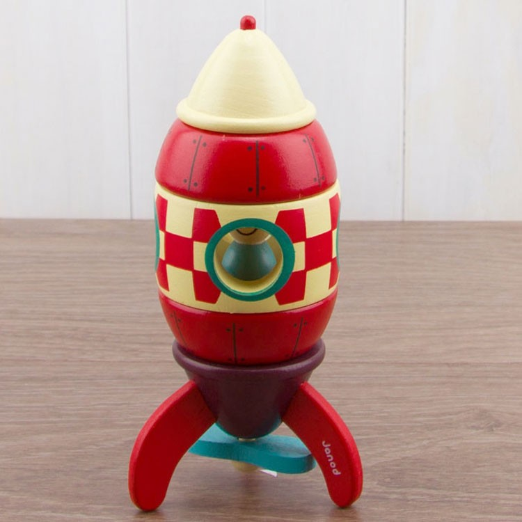 Rocket Magnetic Wooden Stacking Activity Toy - Educational