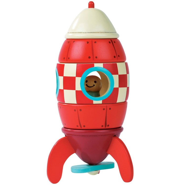 Rocket Toys For 3 Year Olds : Rocket magnetic wooden stacking activity toy educational