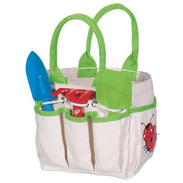 Kids garden tote with 3 pc tools set educational toys planet for Small garden tool carrier