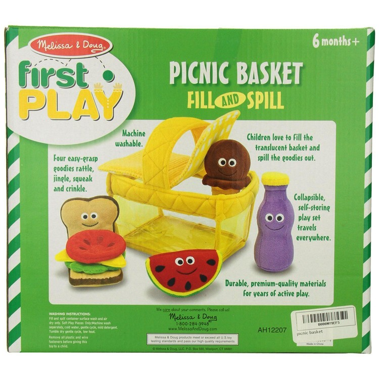 Soft Food Toys : Picnic basket fill and spill soft toy food play set