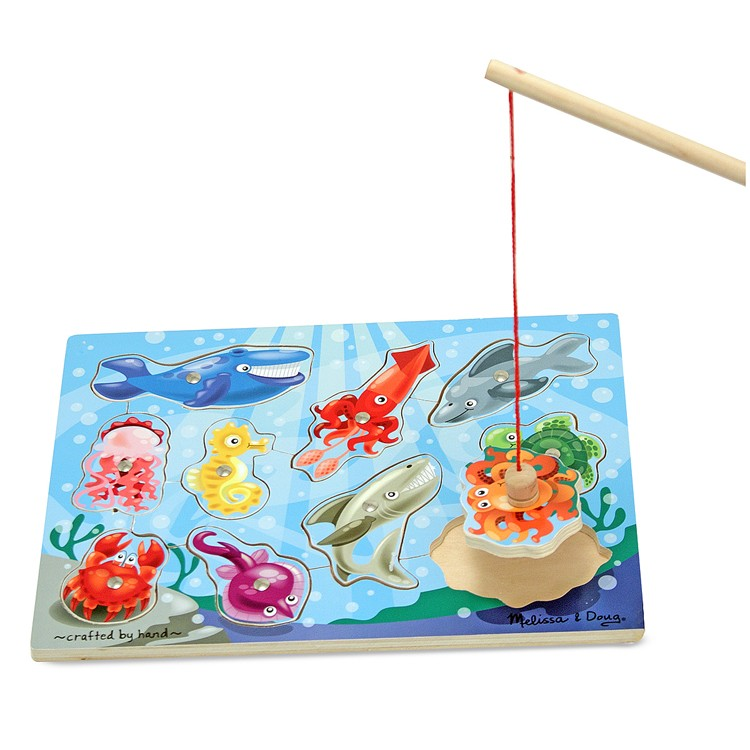 Fishing game magnetic wooden puzzle educational toys planet for Fishing net crossword clue