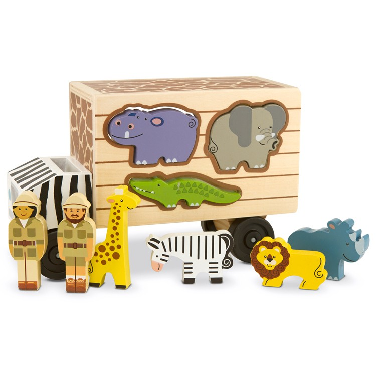 Safari Toys For Boys : Animal safari truck shape sorting wooden toy educational