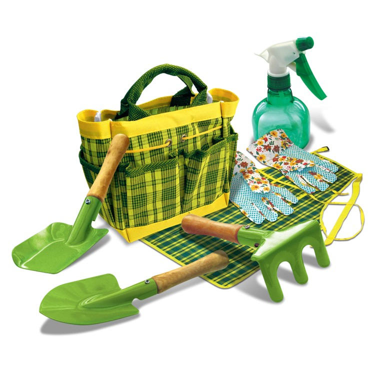Kids garden tools accessories set in a tote for Gardening tools toddlers