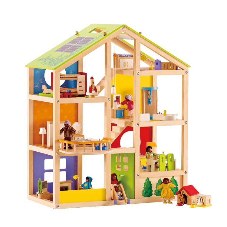 All Season House Furnished Wooden Dollhouse Educational