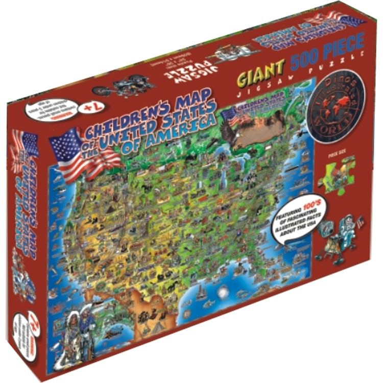 Usa Map 500 Pc Illustrated Floor Puzzle Educational Toys