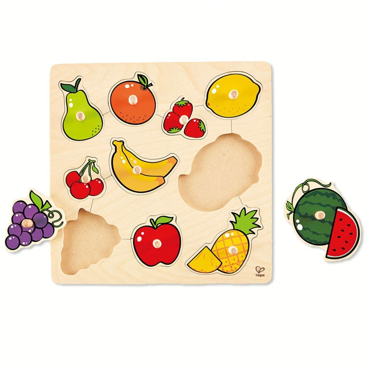 fruit 10 pc knob wooden puzzle educational toys planet
