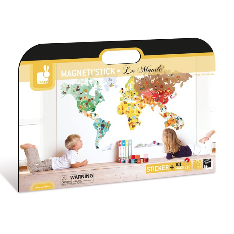 world map magnetistick magnetic wall stickers set educational toys planet. Black Bedroom Furniture Sets. Home Design Ideas