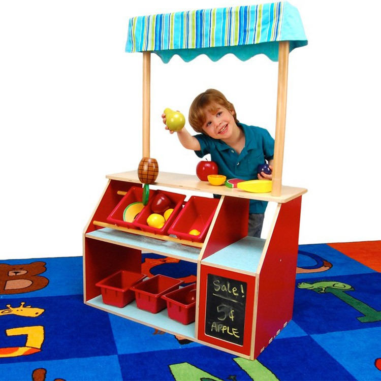 Young children learn through play and pretend play builds essential developmental skills such as language and social skills, problem solving and information processing.. The Let's Play Store kit is a fun way to encourage pretend play in kids. Children love to pretend and playing store is often a favorite.