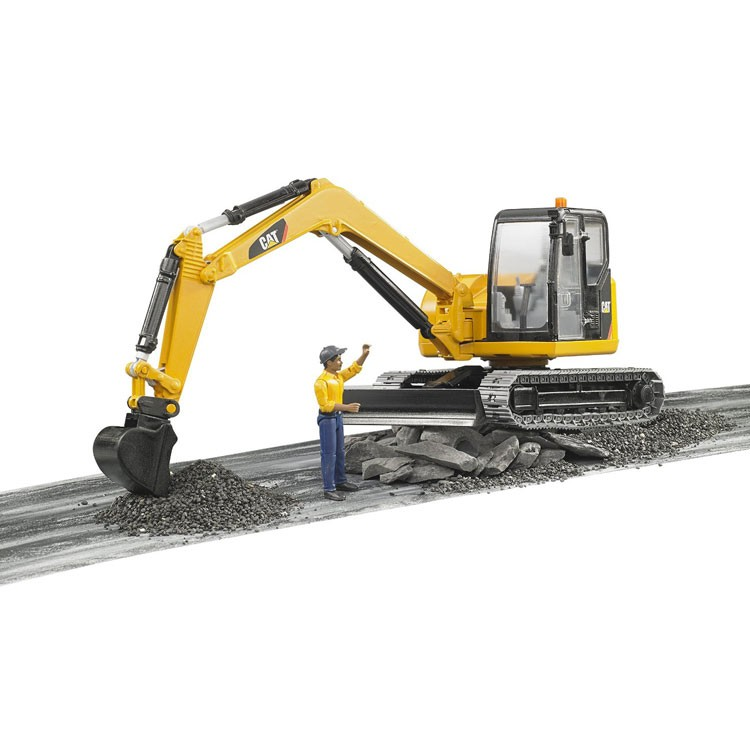 Cat Construction Toys For Boys : Bruder cat mini excavator with worker construction vehicle