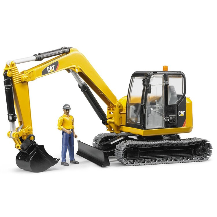 Bruder Construction Toys For Boys : Bruder cat mini excavator with worker construction vehicle