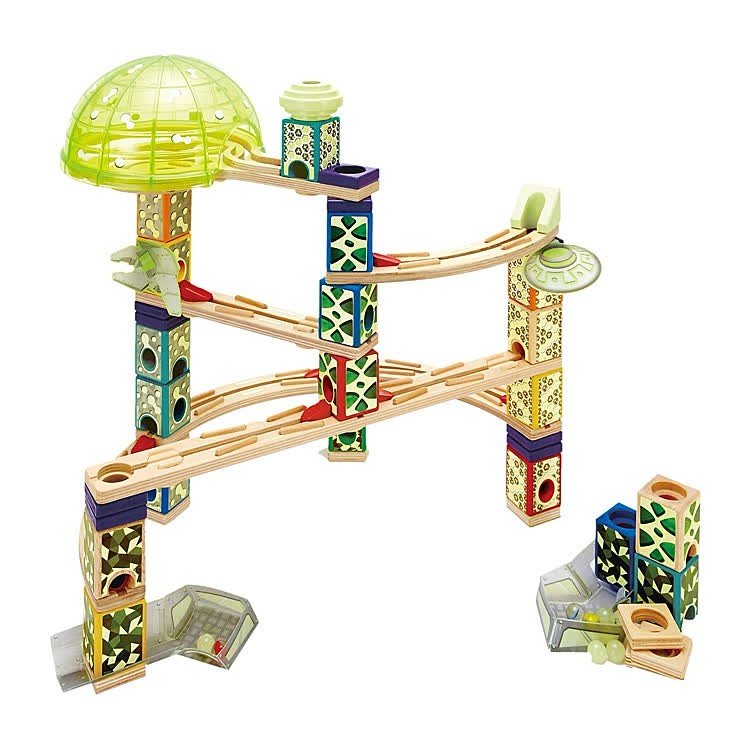 Marble Toys For Boys : Space city quadrilla pc wooden marble run