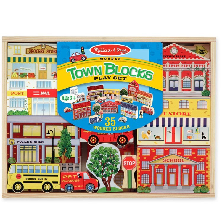 Town Blocks Wooden Play Set Educational Toys Planet