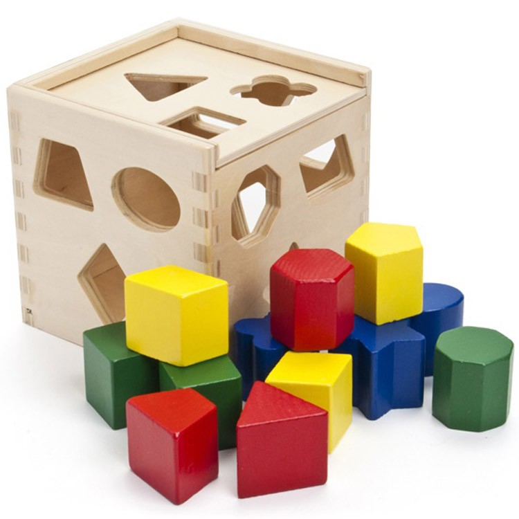Shape Sorting Cube Wooden Toy Educational Toys Planet
