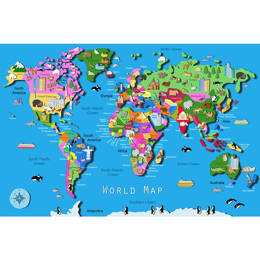 World Map 60 pc Children Puzzle Educational Toys Planet