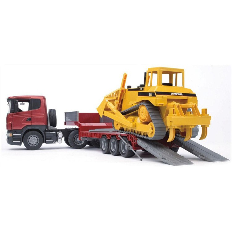 Germany Building Toys For Boys : Bruder scania r series low loader cat bulldozer