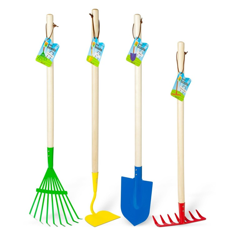 Kids gardening 4 pc big metal tools set educational toys for Large rake garden tool