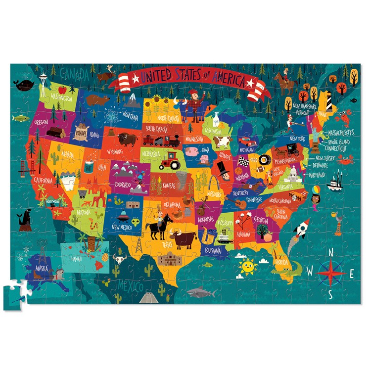 USA Map Pc Jigsaw Puzzle And Poster Set Educational Toys Planet - Puzzle us map