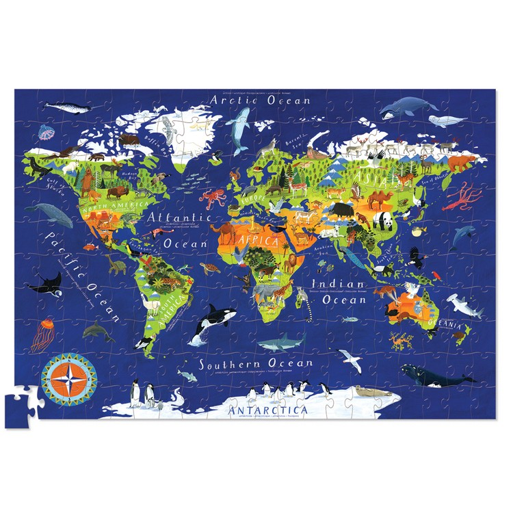 World Map 200 pc Jigsaw Puzzle and Poster Set Educational Toys