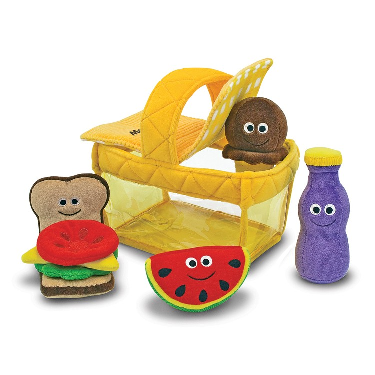 Plush Food Toys : Picnic basket fill and spill soft toy food play set