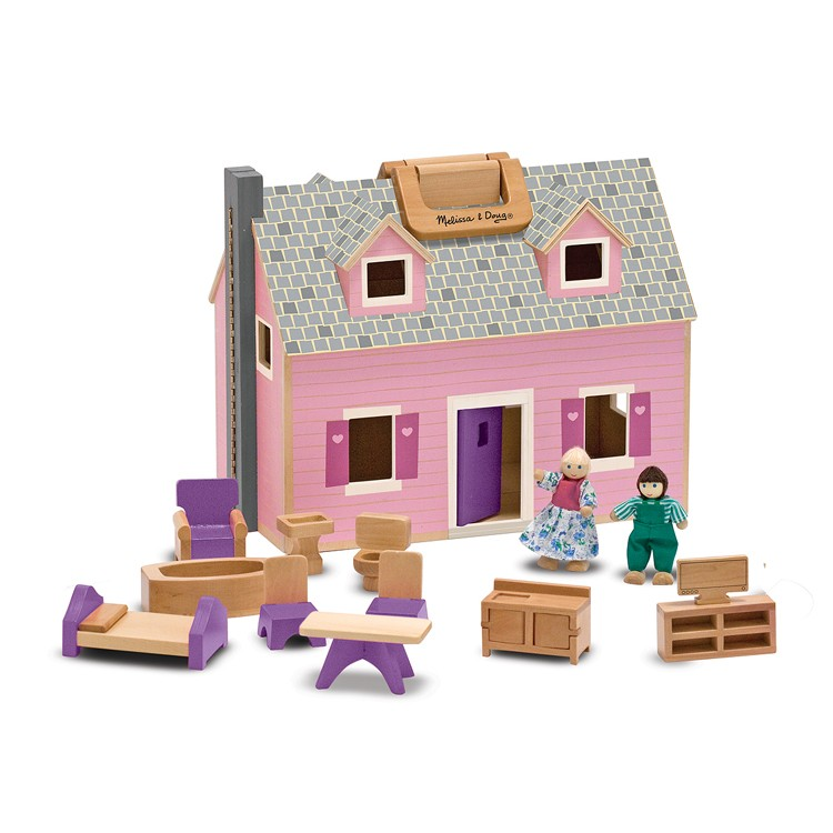 Melissa & Doug\'s Fold & Go Wooden Dollhouse - Educational Toys Planet
